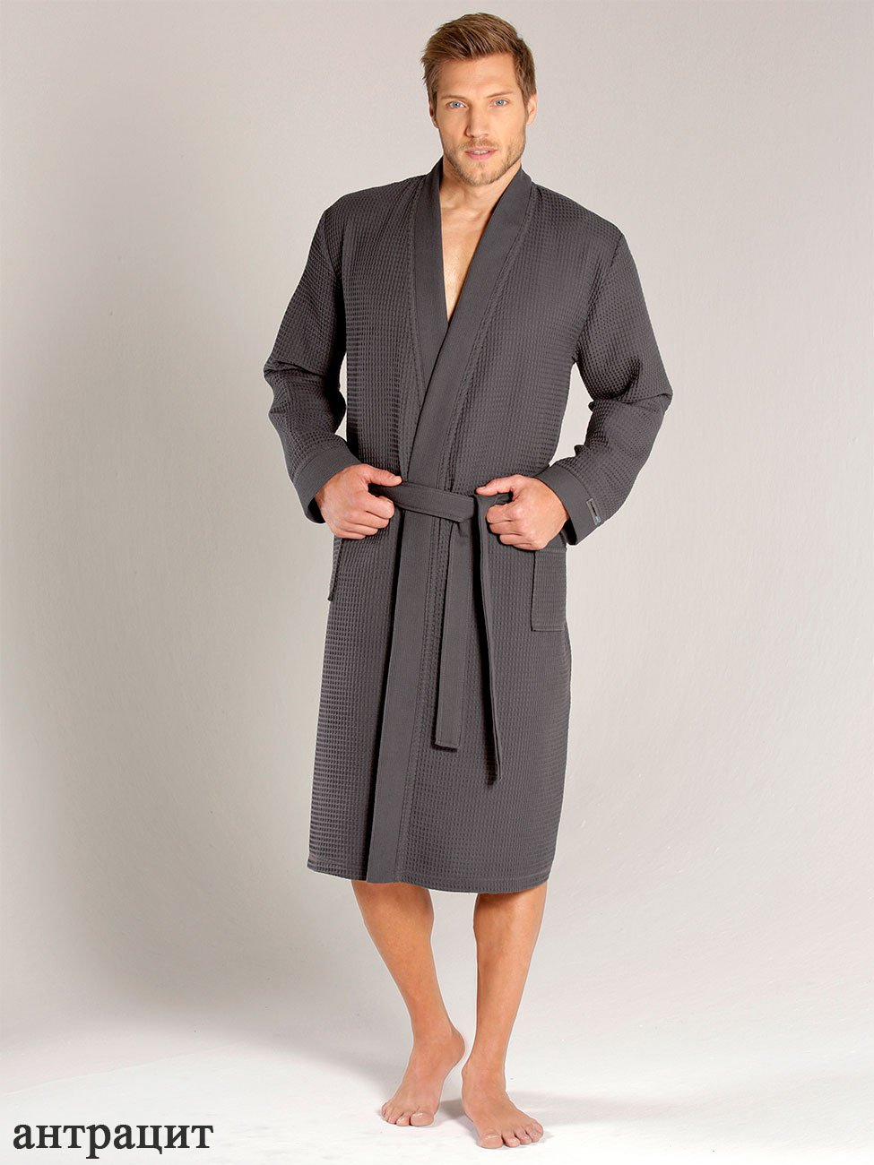 Мужской халат длинный, антрацит вафельный 000614-613 Taubert