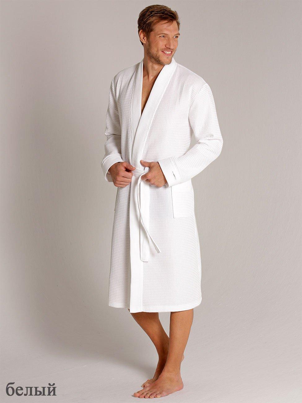 Мужской халат длинный, белый вафельный 000614-613 Taubert