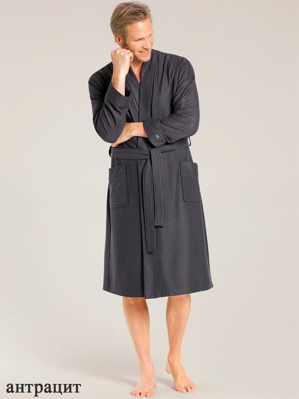 Мужской велюровый халат, антрацит 000650-313 Taubert