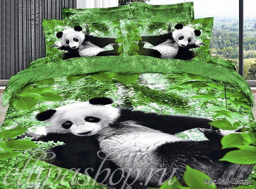 045 Панда - сатиновый комплект белья Afrodita