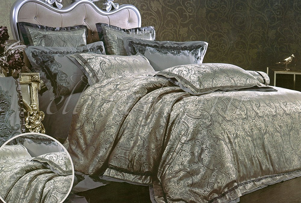 JB-002 Marble комплект жаккардового белья с вышивкой Afrodita