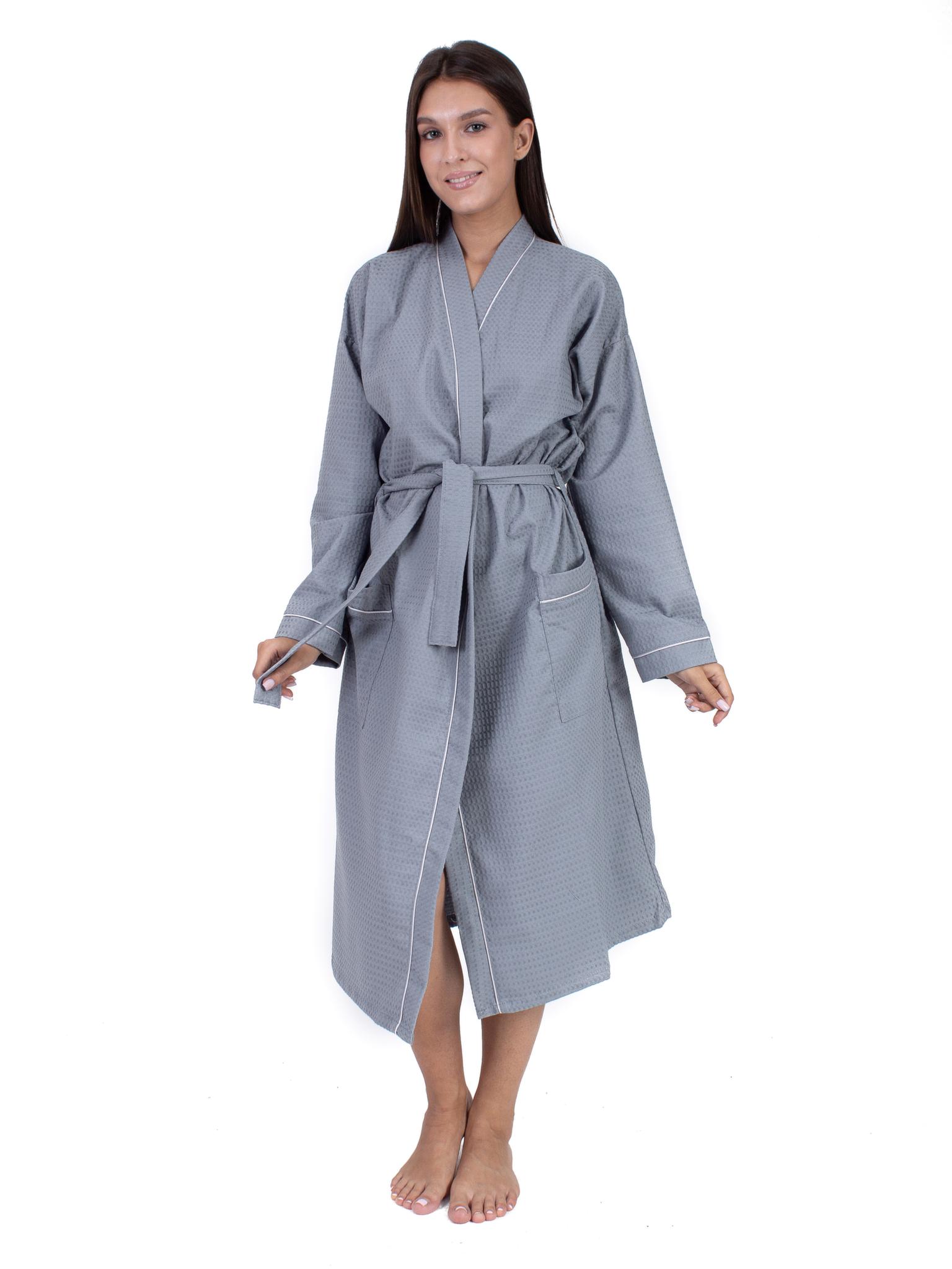 Вафельный халат серый Elintale