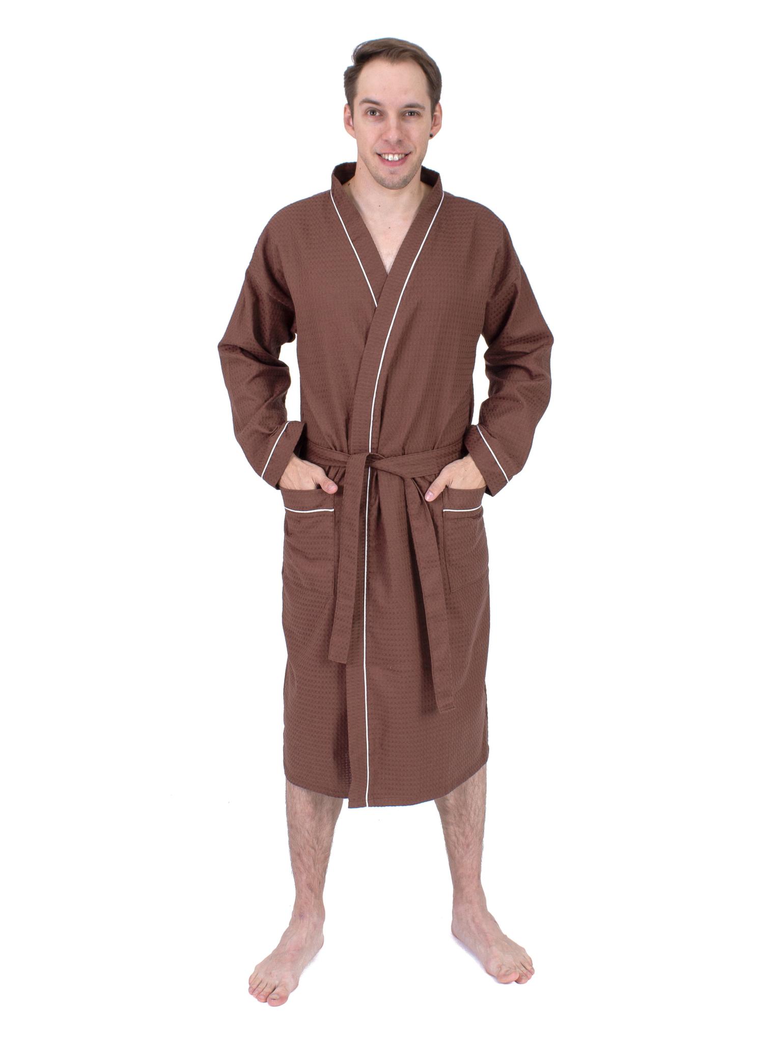 Вафельный мужской халат шоколадный Elintale