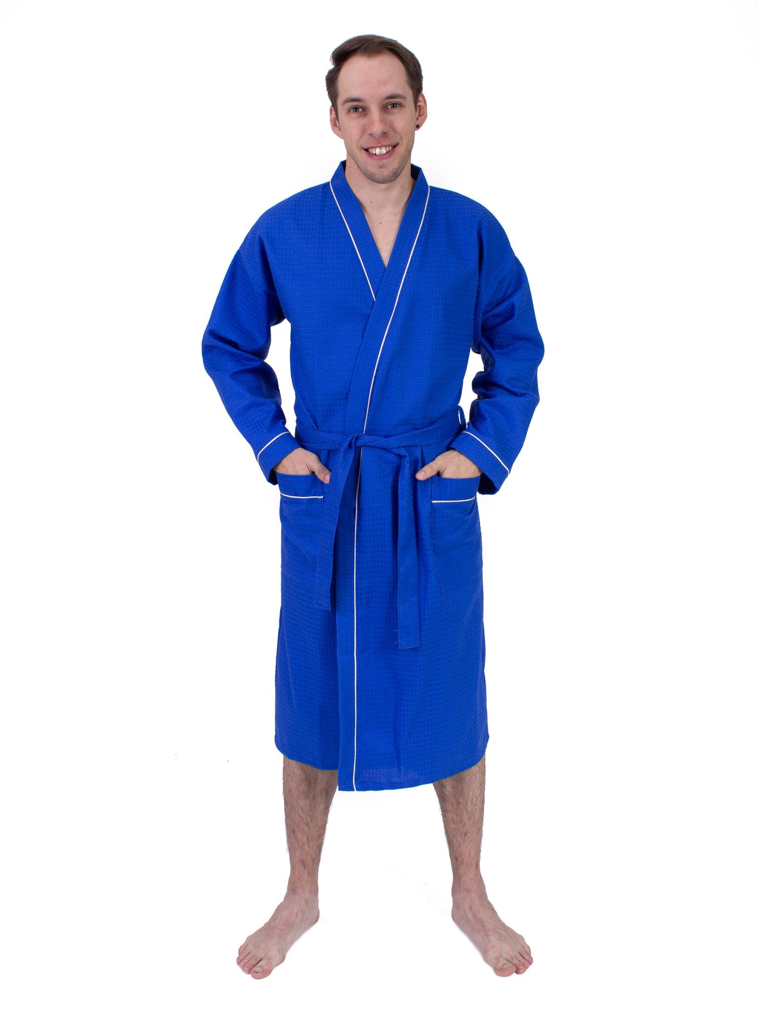 Вафельный мужской халат васильковый Elintale