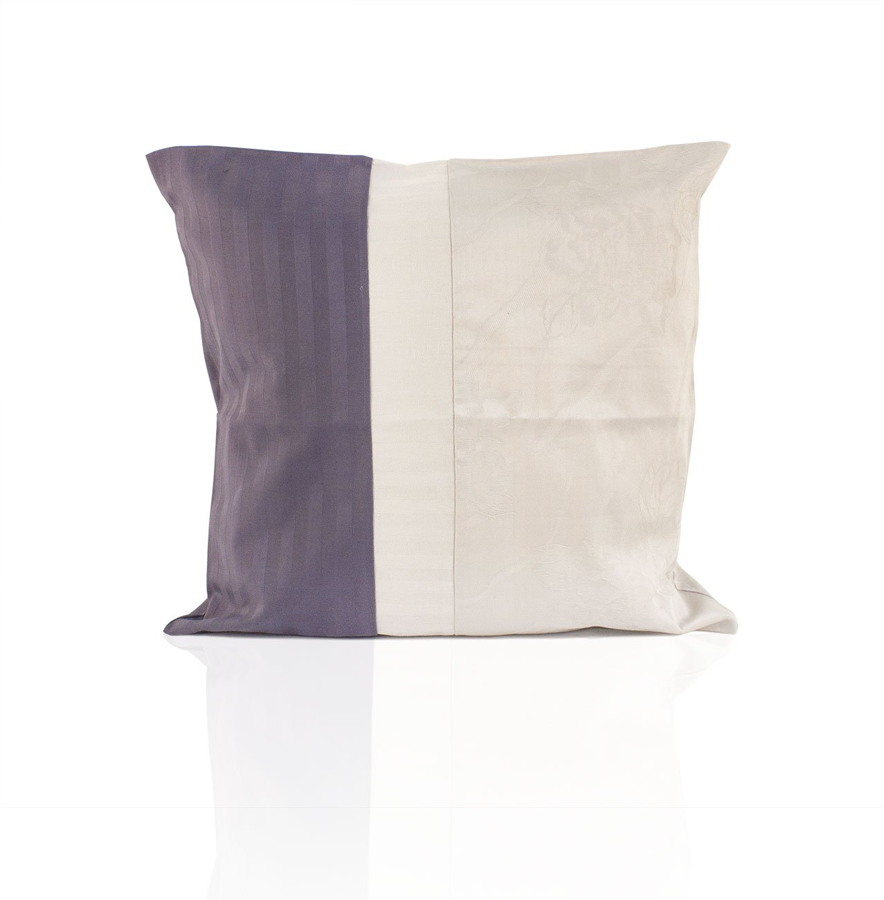 Наволочка из страйп-сатина Полоска 1x1 комби-10 серо-фиолетовый Elin