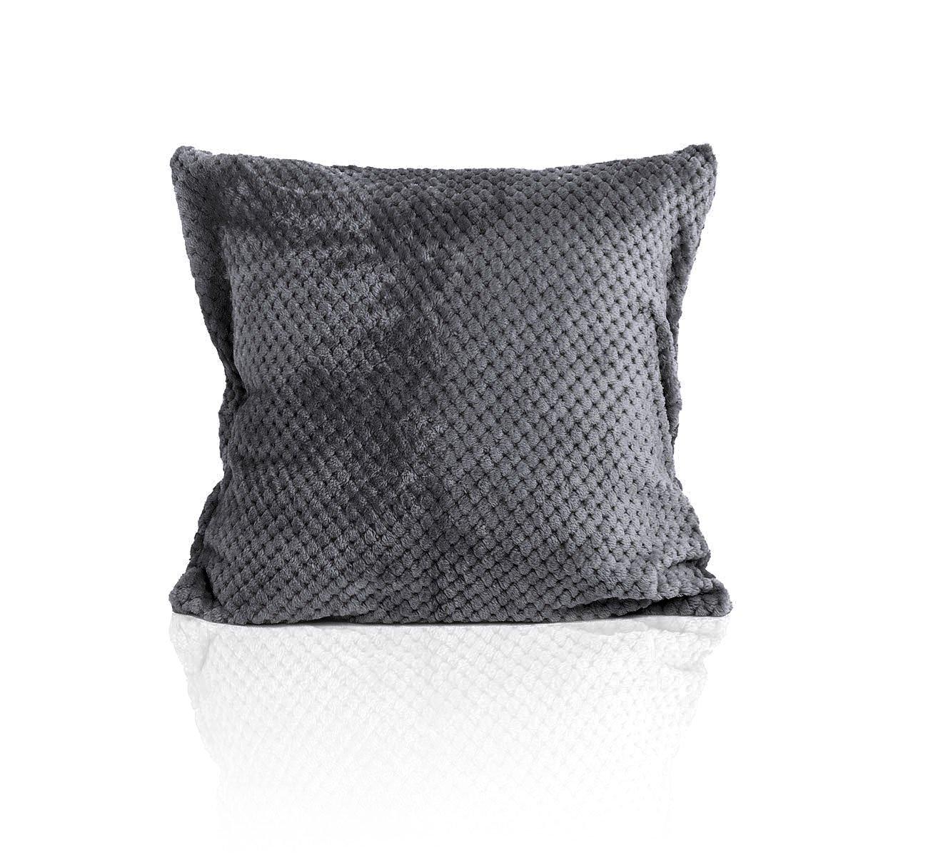 Наволочка из экстрасофта с жаккардом темно-серый Elin
