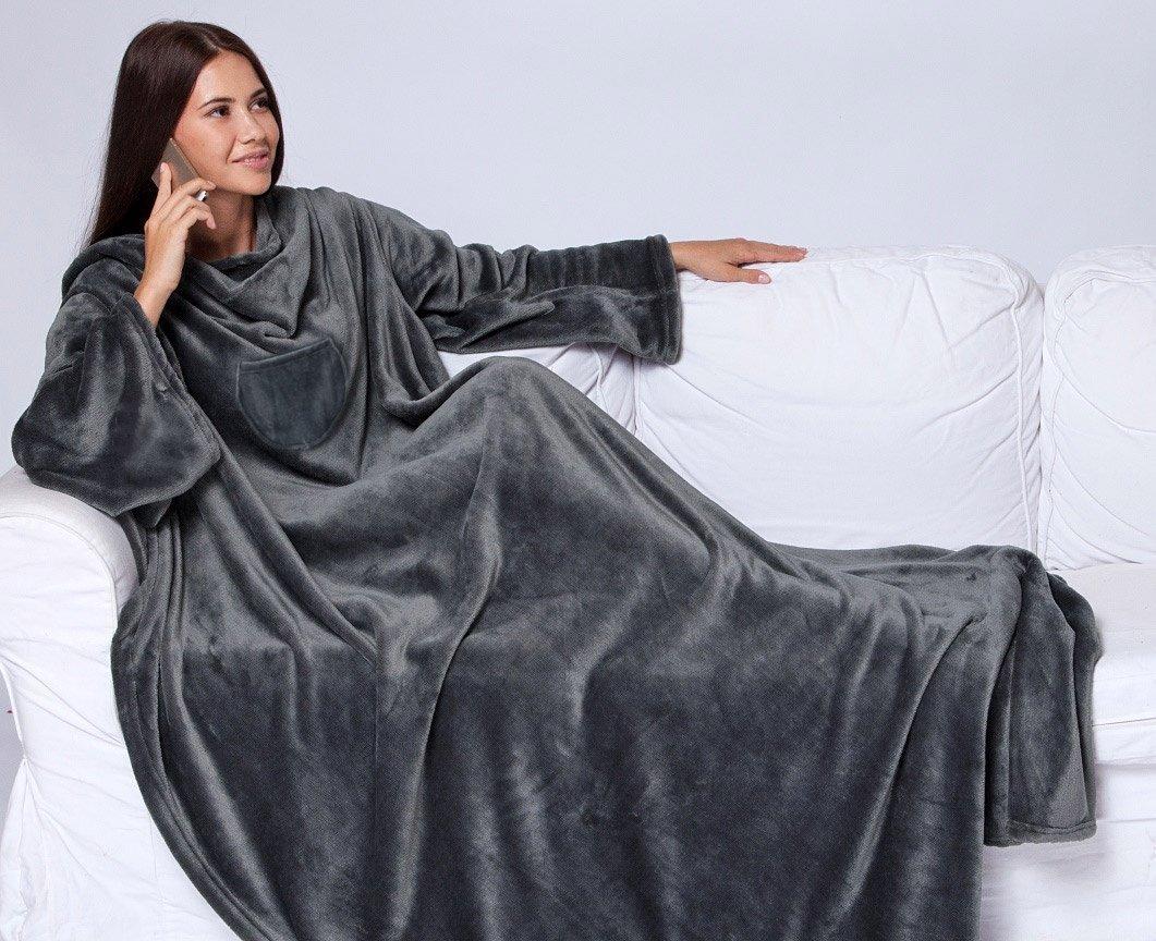 Плед с рукавами экстрасофт темно-серый Elin