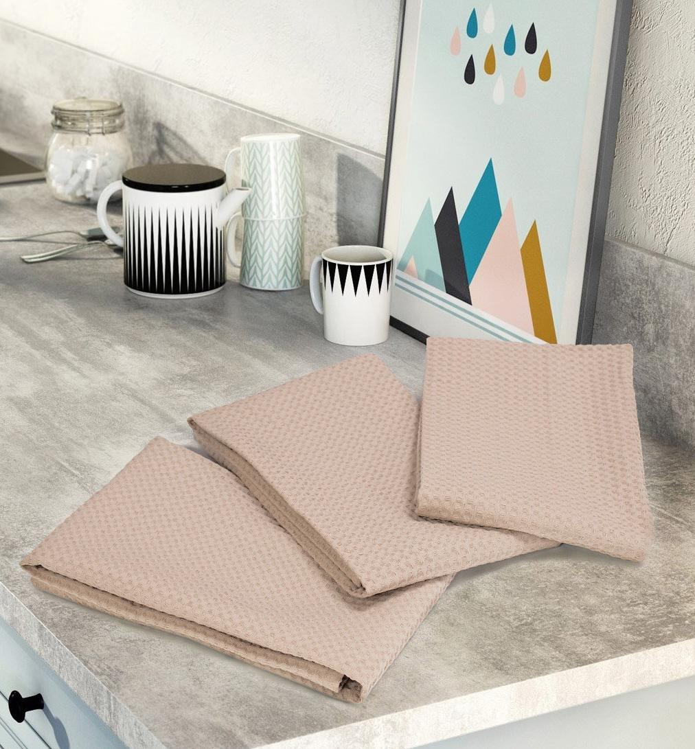 Комплект вафельных полотенец (3 шт) бежевый Elin
