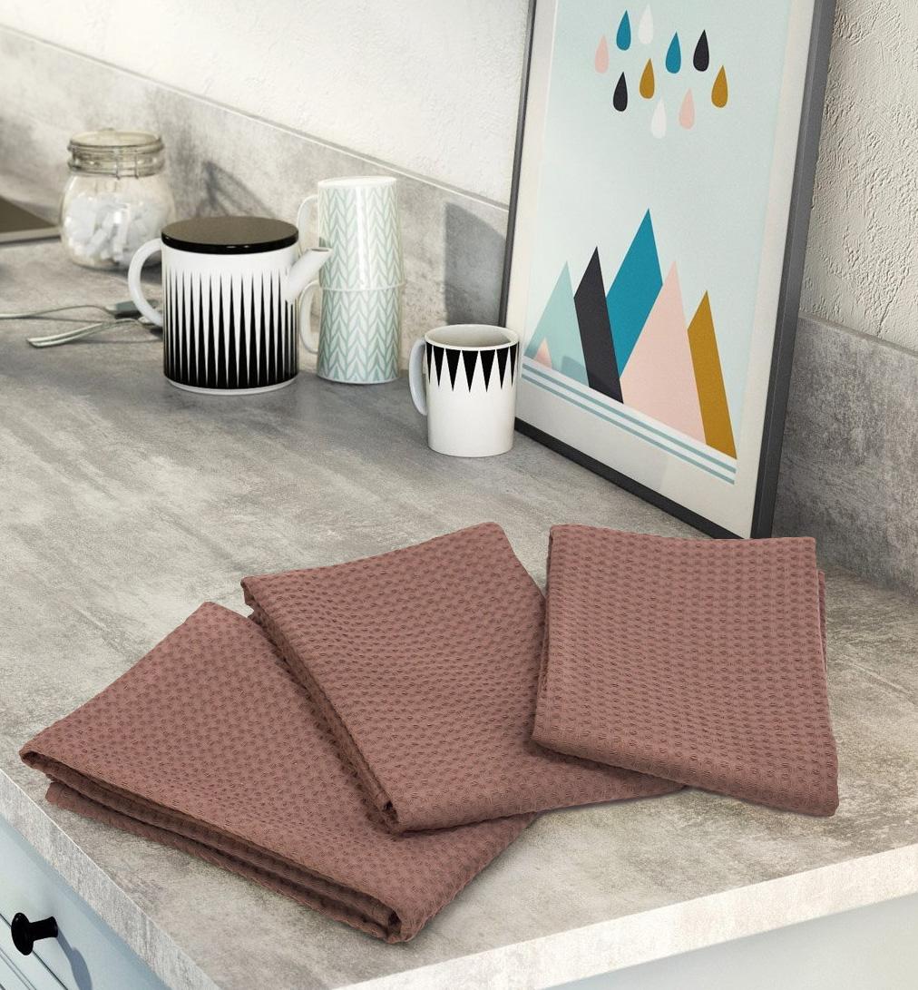 Комплект вафельных полотенец (3 шт) кофейный Elin