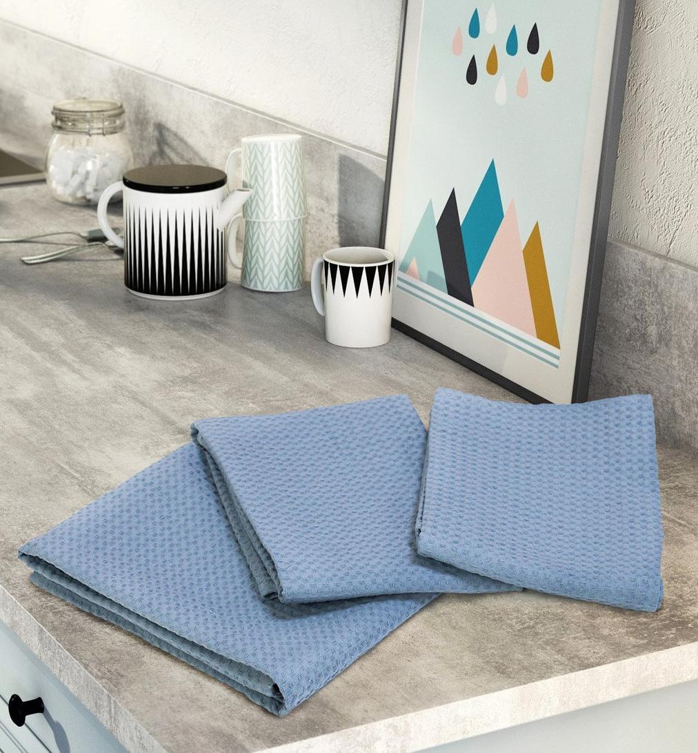Комплект вафельных полотенец (3 шт) серо-голубой Elin