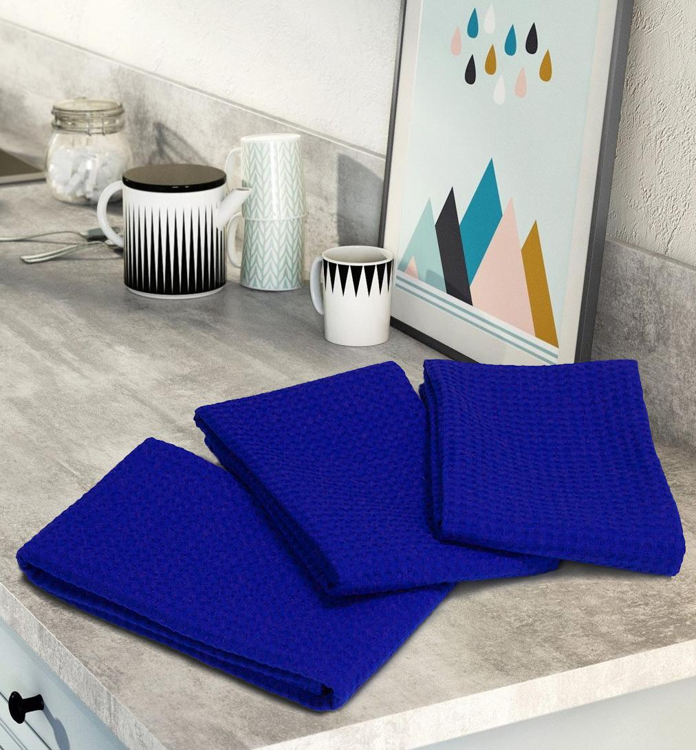 Комплект вафельных полотенец (3 шт) синий Elin