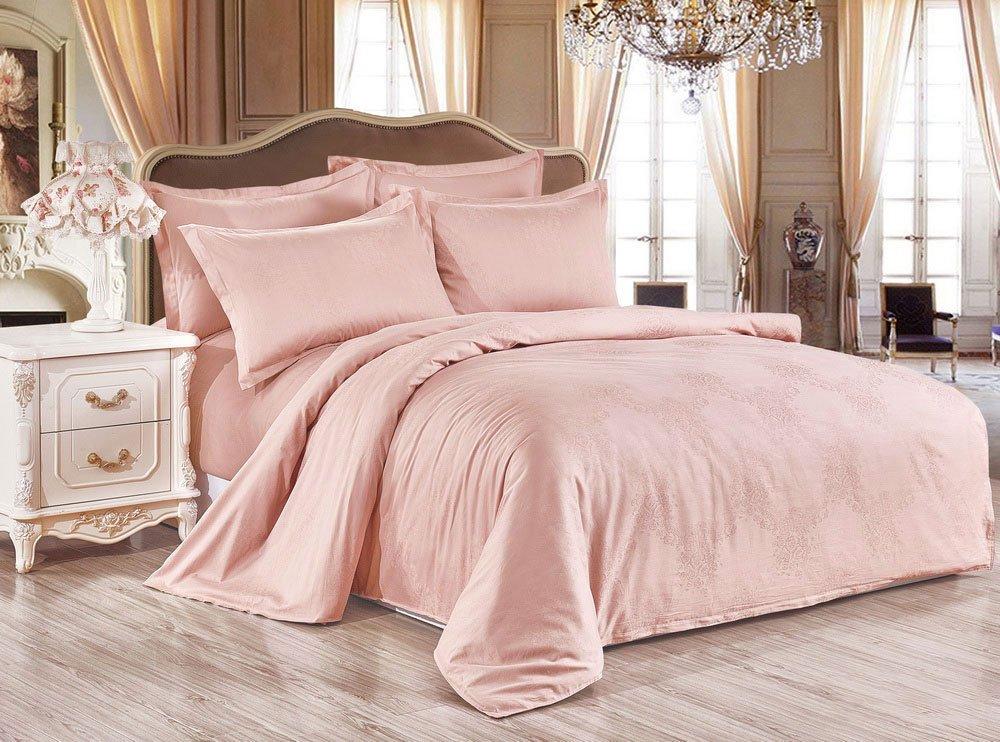 Жаккардовое постельное белье SJ-13 Розочки светло-персиковый Elin