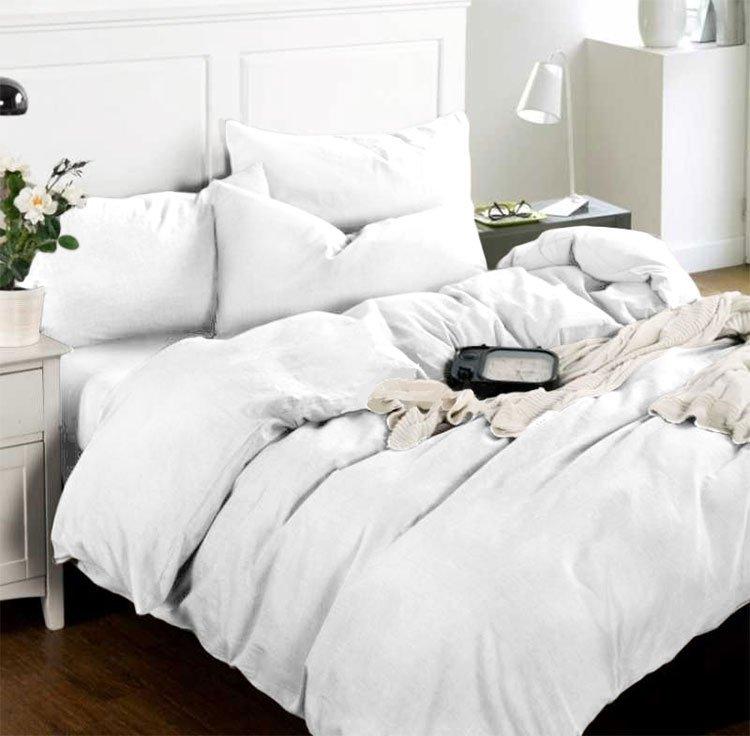 11с156 Отдельные предметы белого льняного комплекта белья Elin
