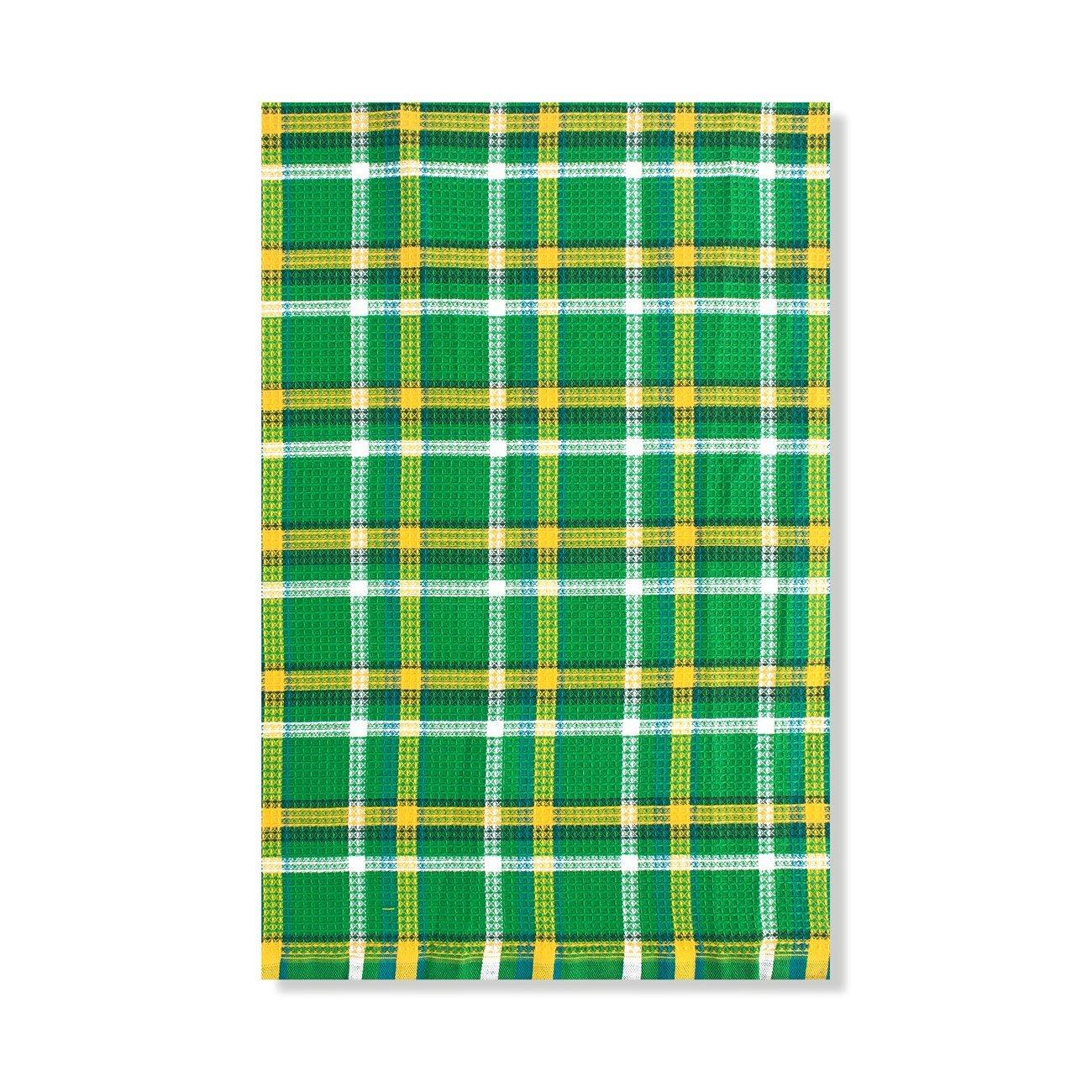 Клетка зелено-желтая - полотенце вафельное, пестротканное Elin