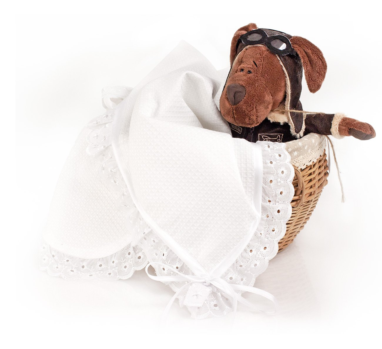 Детское вафельное полотенце-простыня Нарядная с шитьем Elin