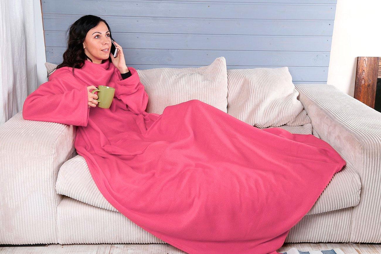 Плед с рукавами из экстрасофта ярко розовый Elin