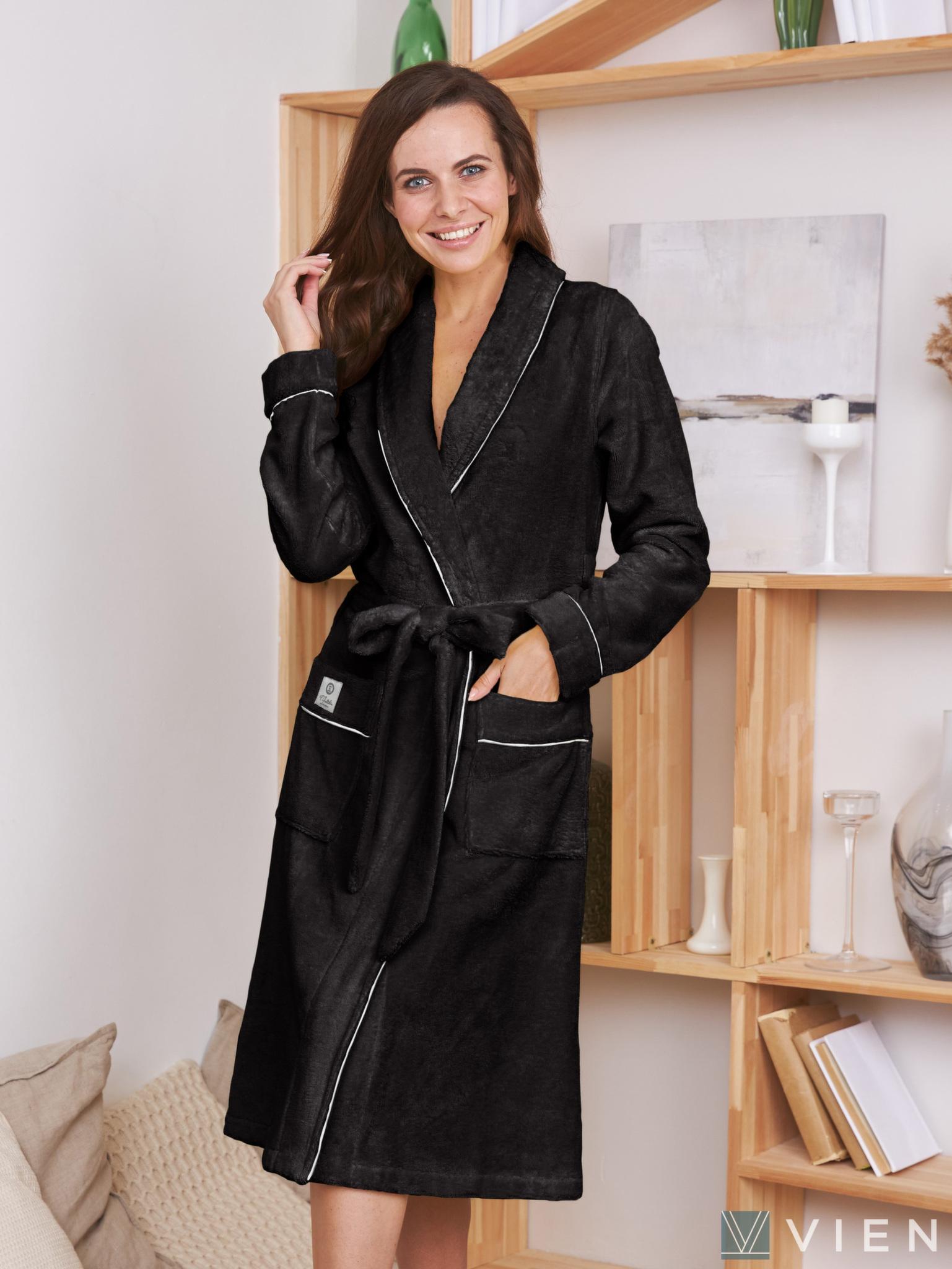 Женский бамбуковый халат 1003 Trendy черный Wien