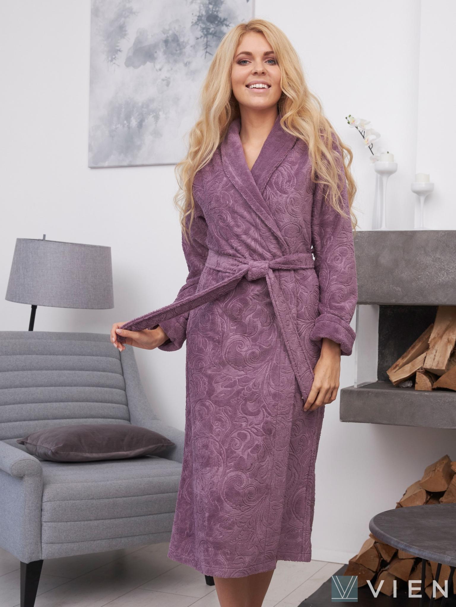 Бамбуковый халат с жаккардом Belinda лиловый Wien