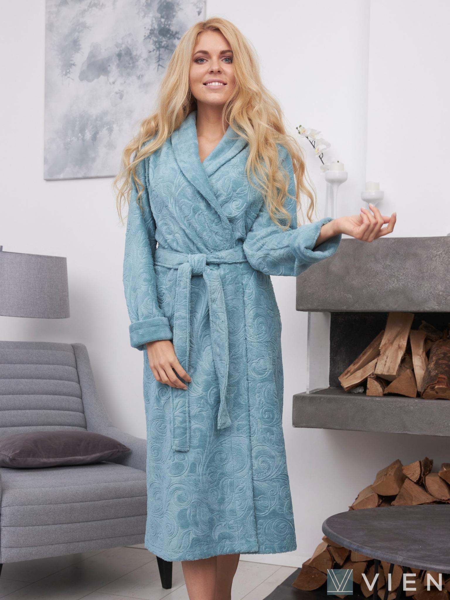 Бамбуковый халат с жаккардом Belinda светло-голубой Wien