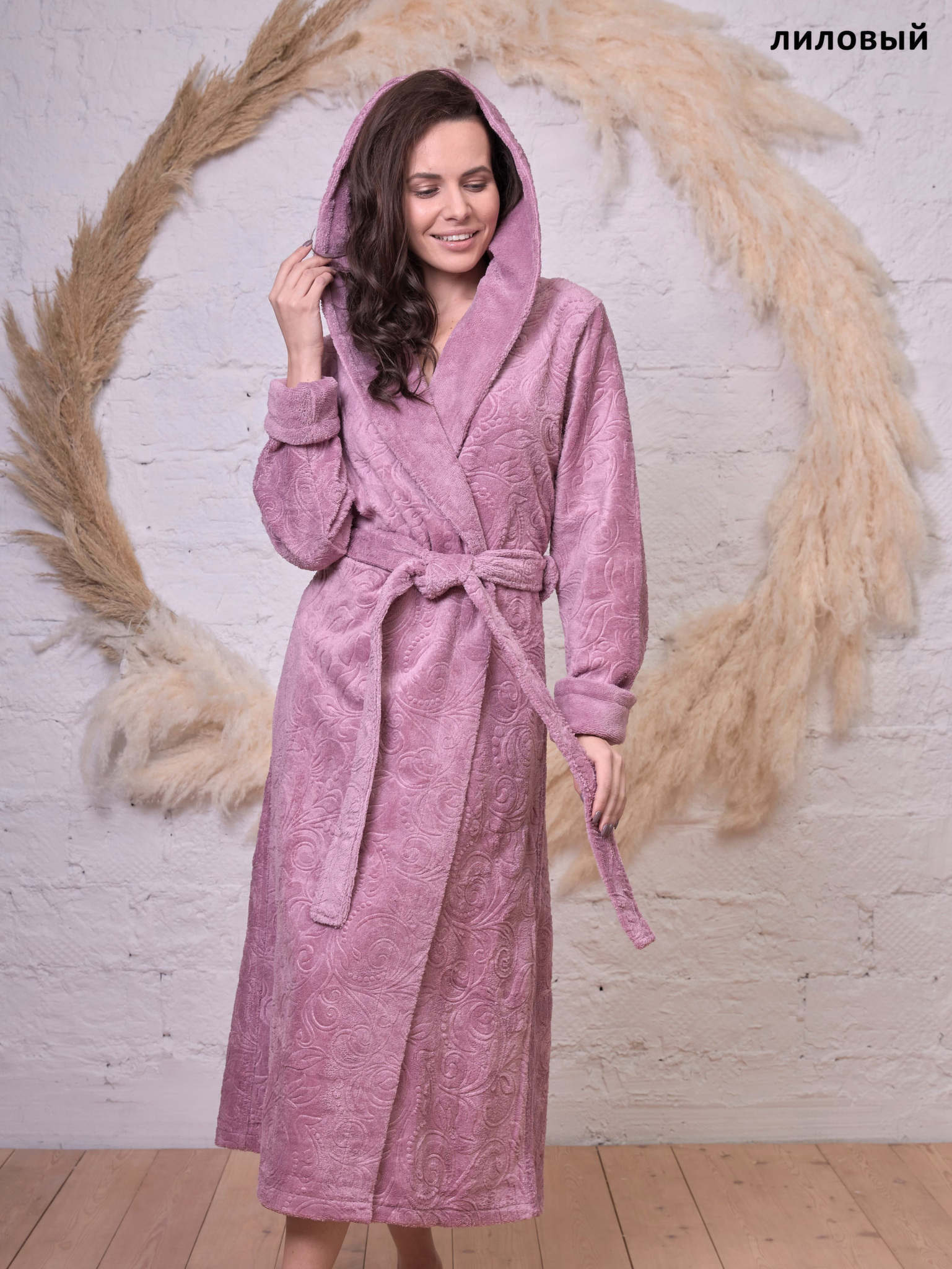 Женский бамбуковый халат с капюшоном 1021 Belinda серо-лиловый Wien