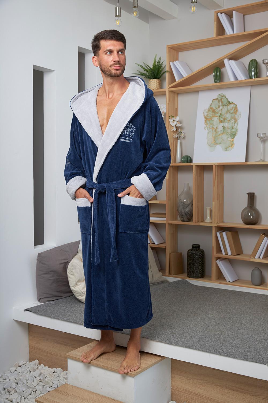 Бамбуковый халат с капюшоном Athletic светло-синий Five wien