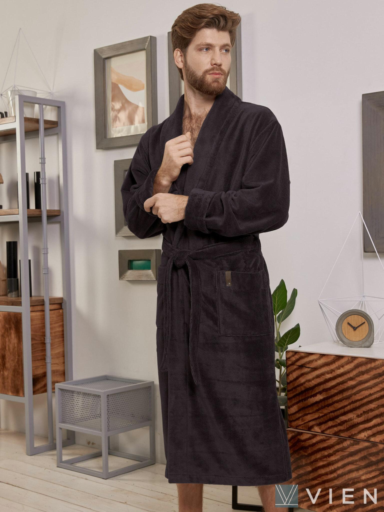 Мужской бамбуковый халат 1039 Oliver антрацит Wien