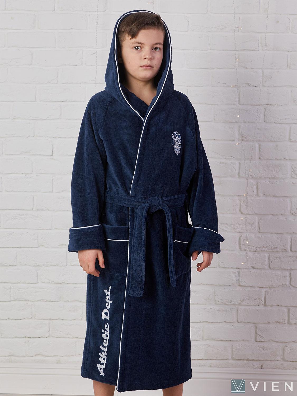 Подростковый халат с капюшоном 1064 Athletic dept синий Five Wien