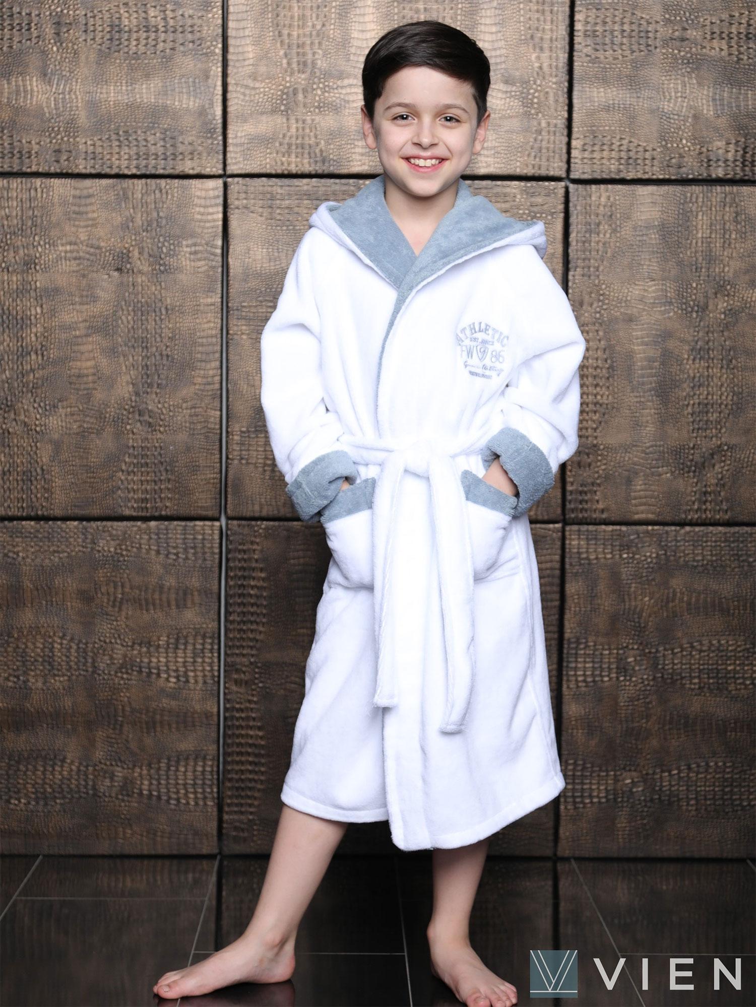 Подростковый халат с капюшоном Atletik junior белый Wien