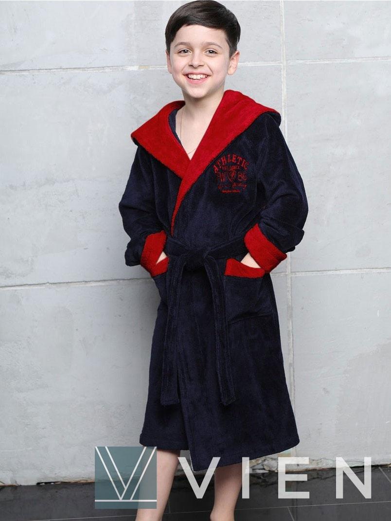 Подростковый халат с капюшоном Atletik junior 1065 синий-красный Wien