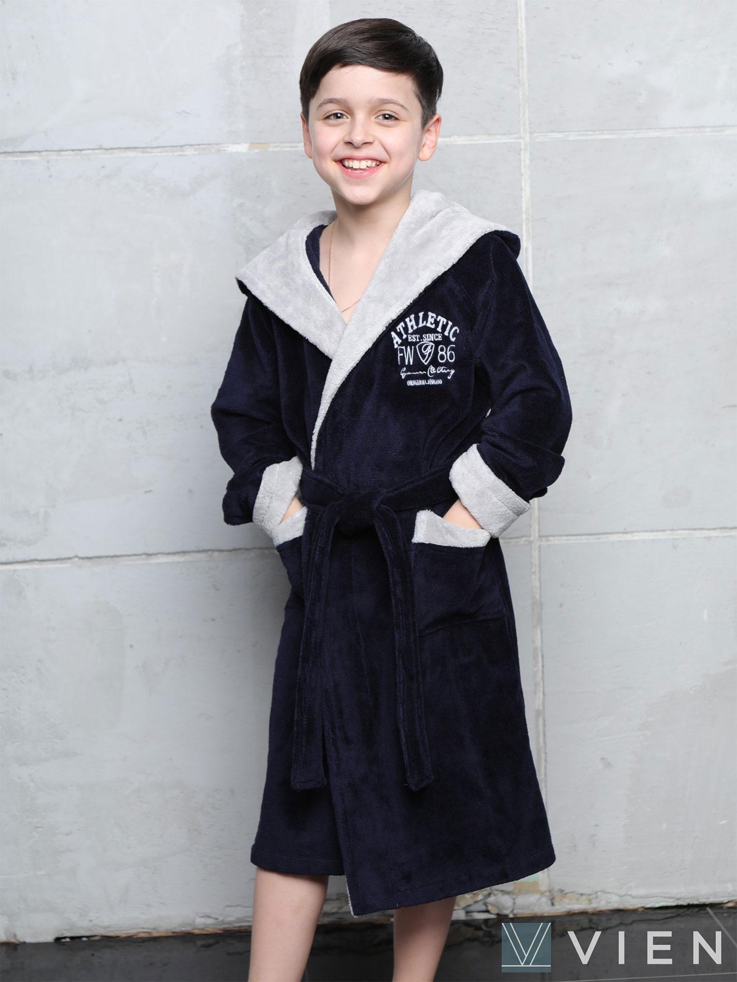 Подростковый халат с капюшоном Atletik junior темно-синий Wien