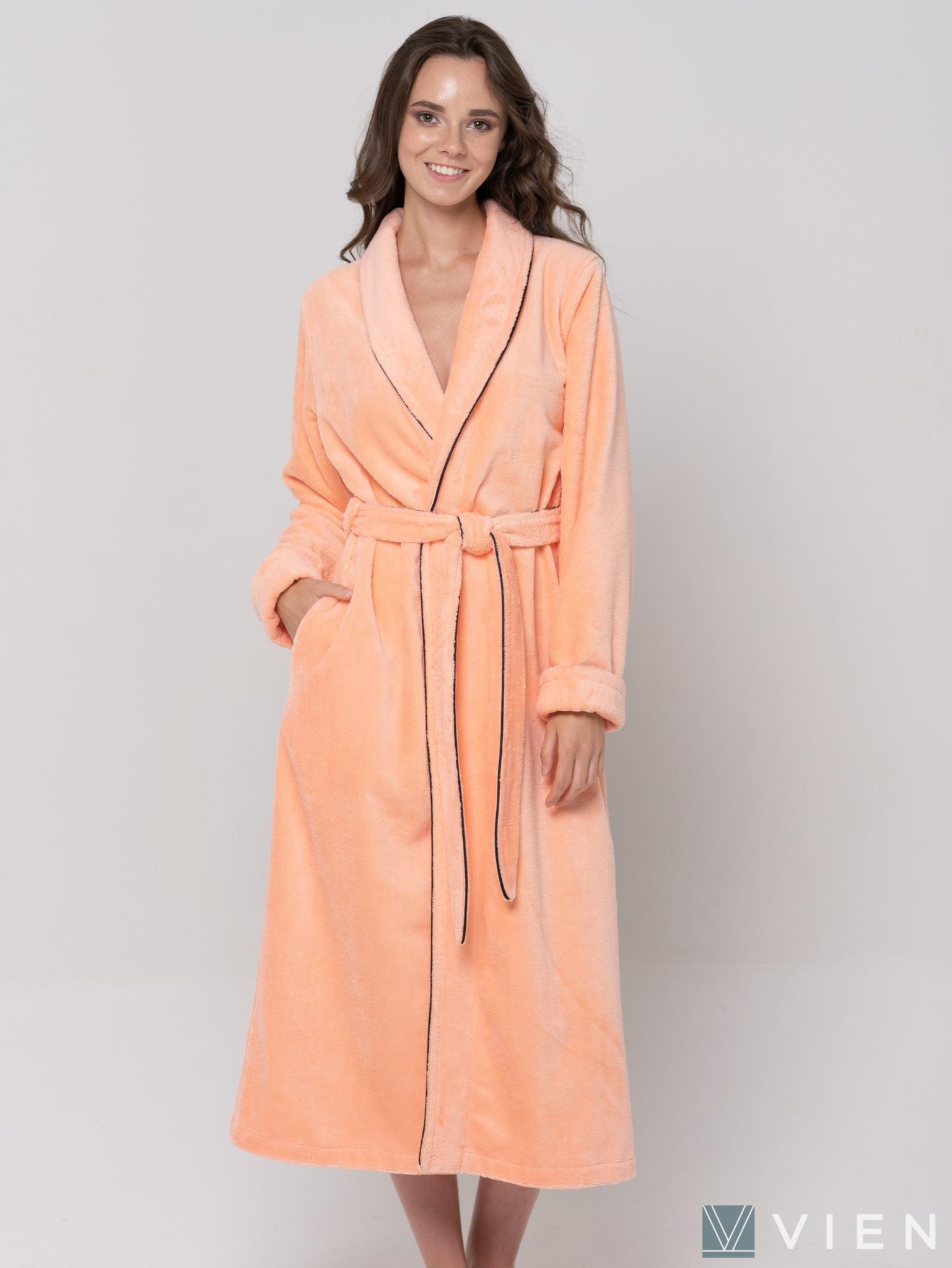 Бамбуковый длинный халат 1095 Good Night персиковый Wien