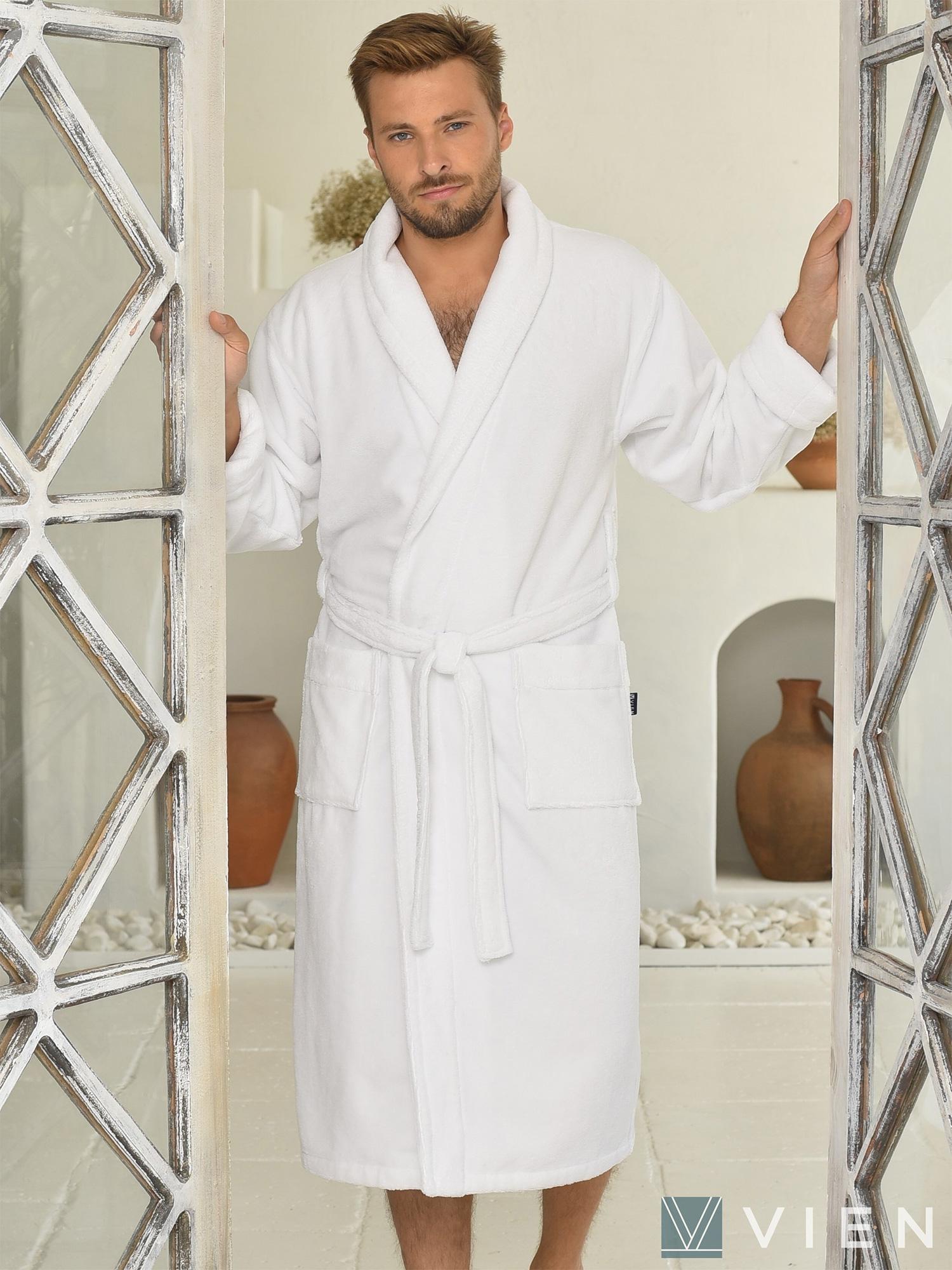 Длинный халат из бамбука 1097 Lord белый Five wien
