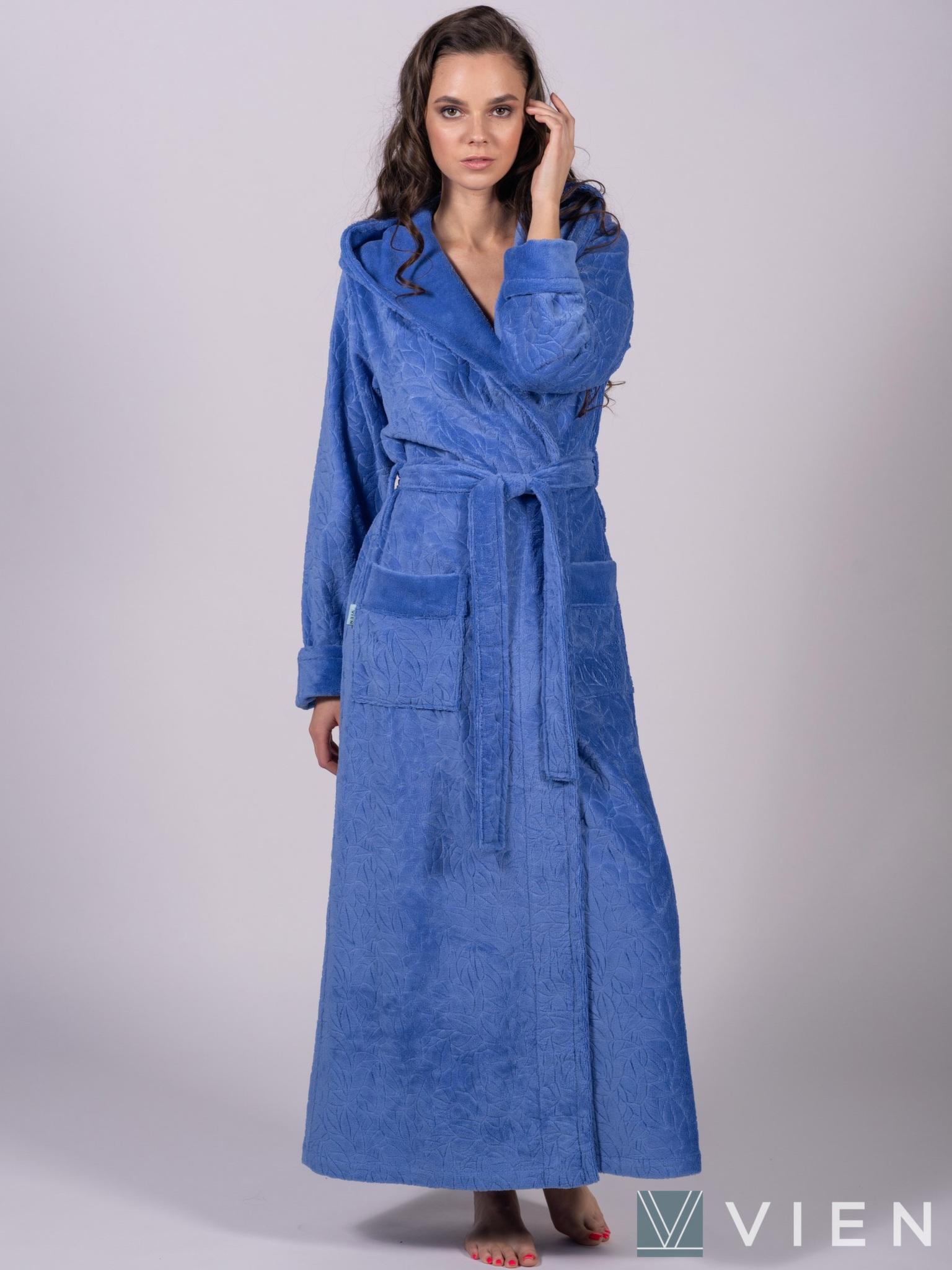 Бамбуковый длинный халат 1107 Jessamina темно-голубой Wien