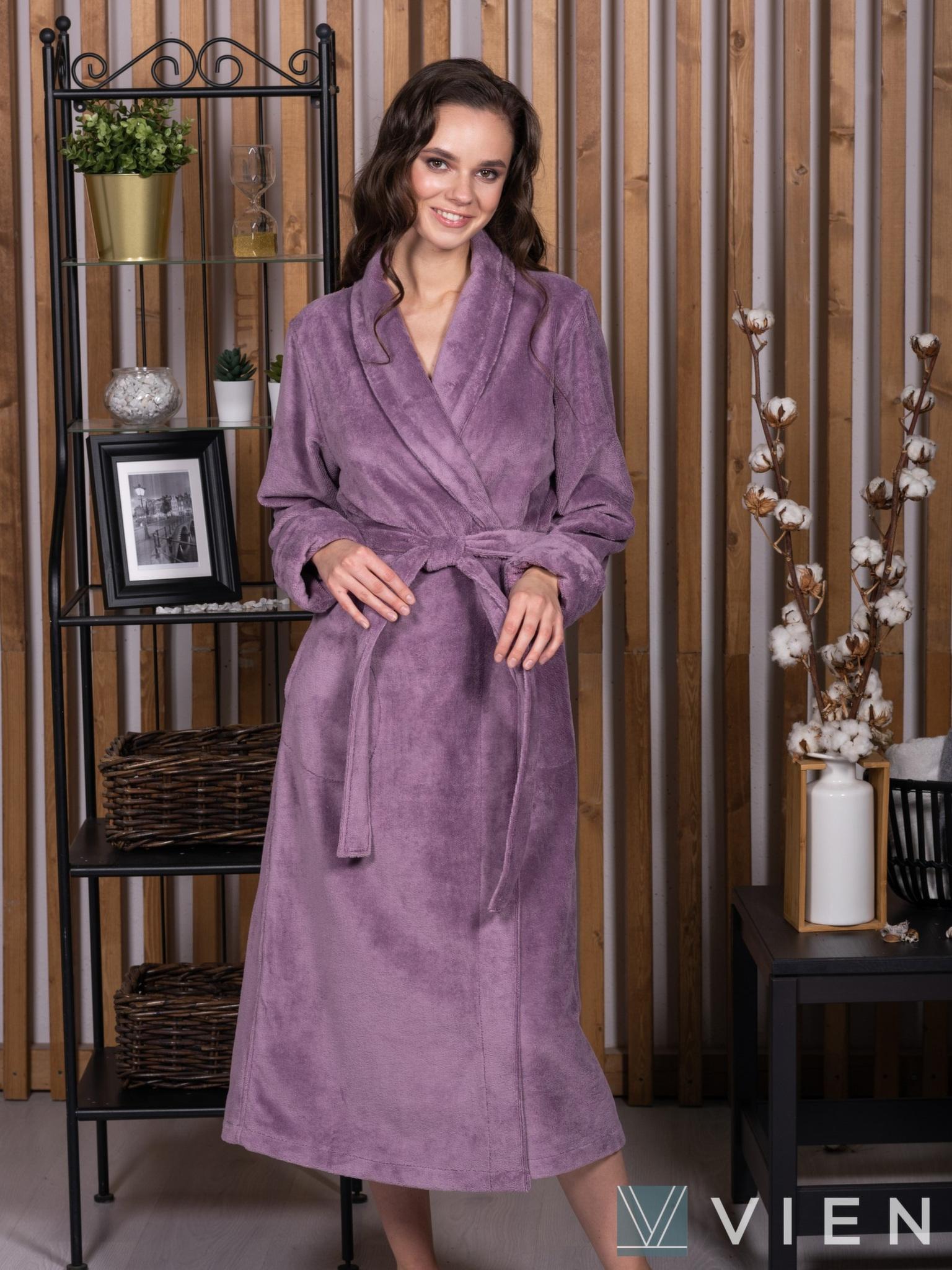 Бамбуковый женский халат 1110 Delal сиреневый Wien