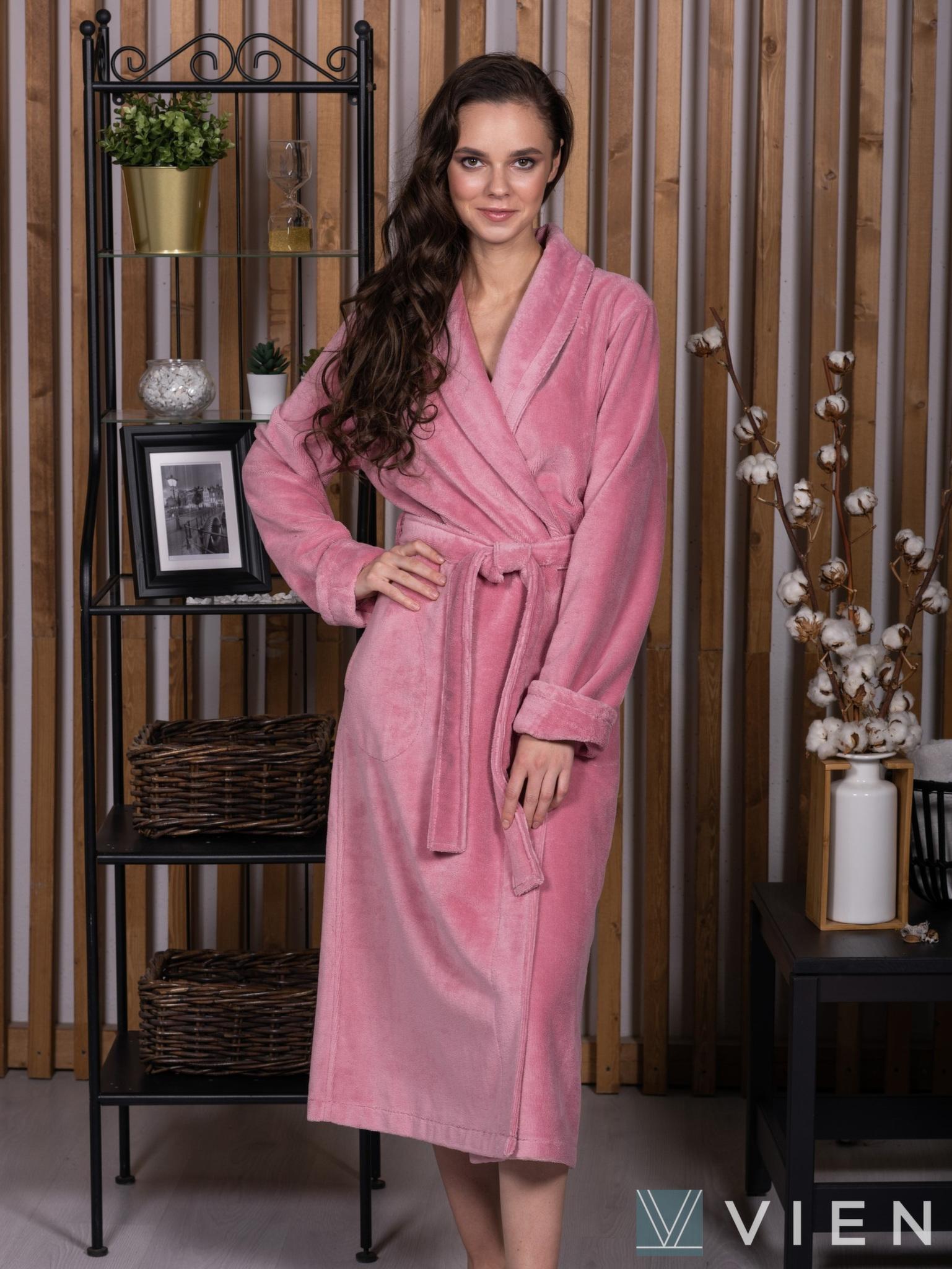 Бамбуковый женский халат 1110 Delal темно-розовый Wien