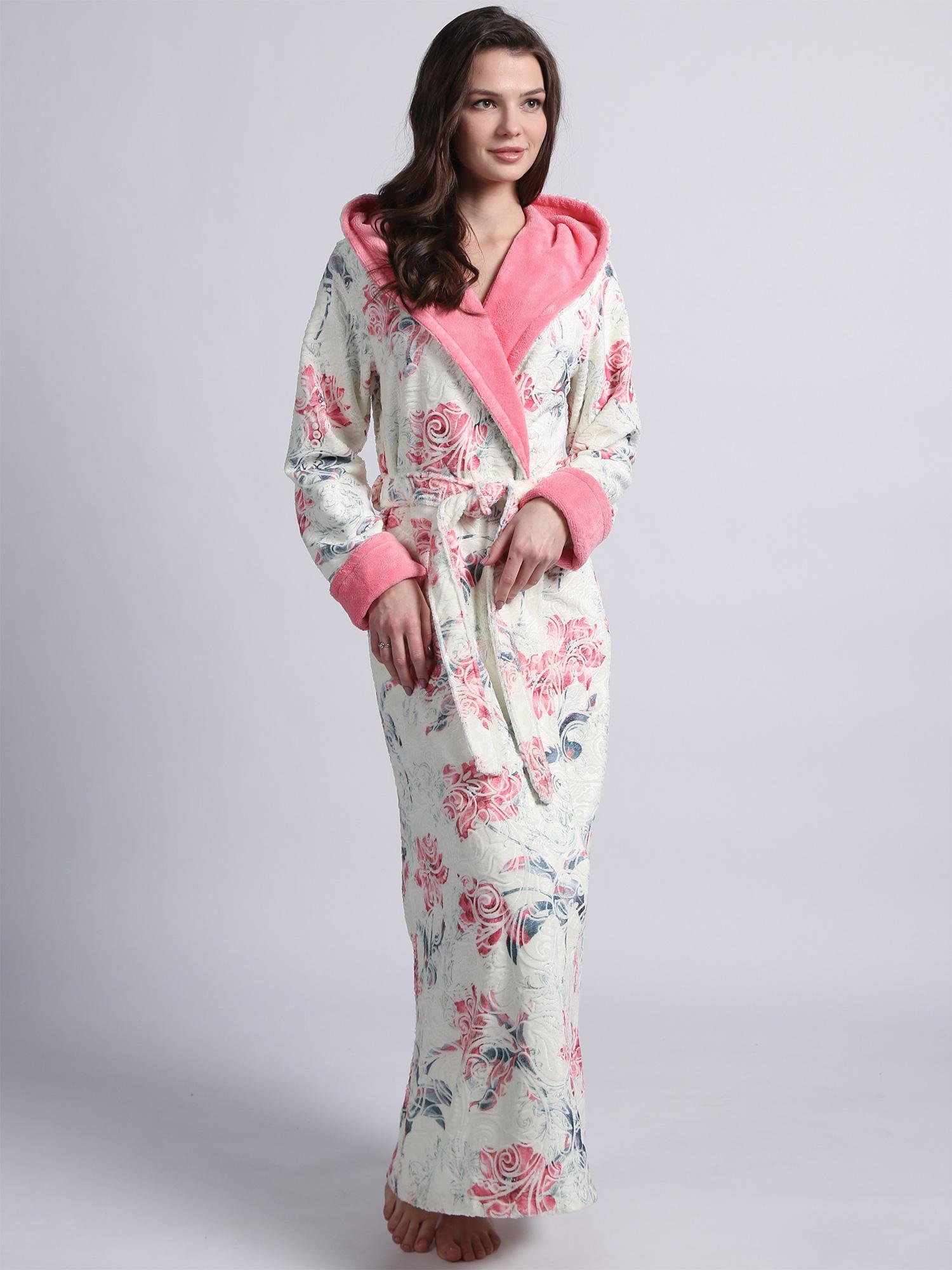 Женский длинный халат с капюшоном 1111 Rosaline ярко-розовый Wien