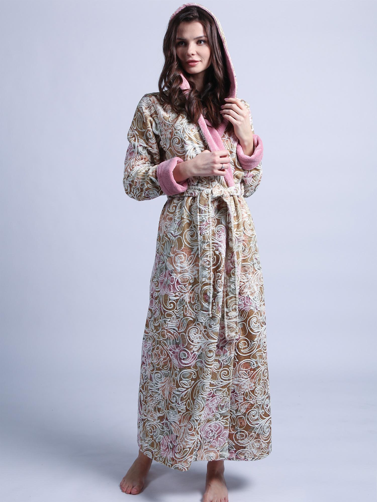 Халат с капюшоном 1111 Rosaline розовый Wien