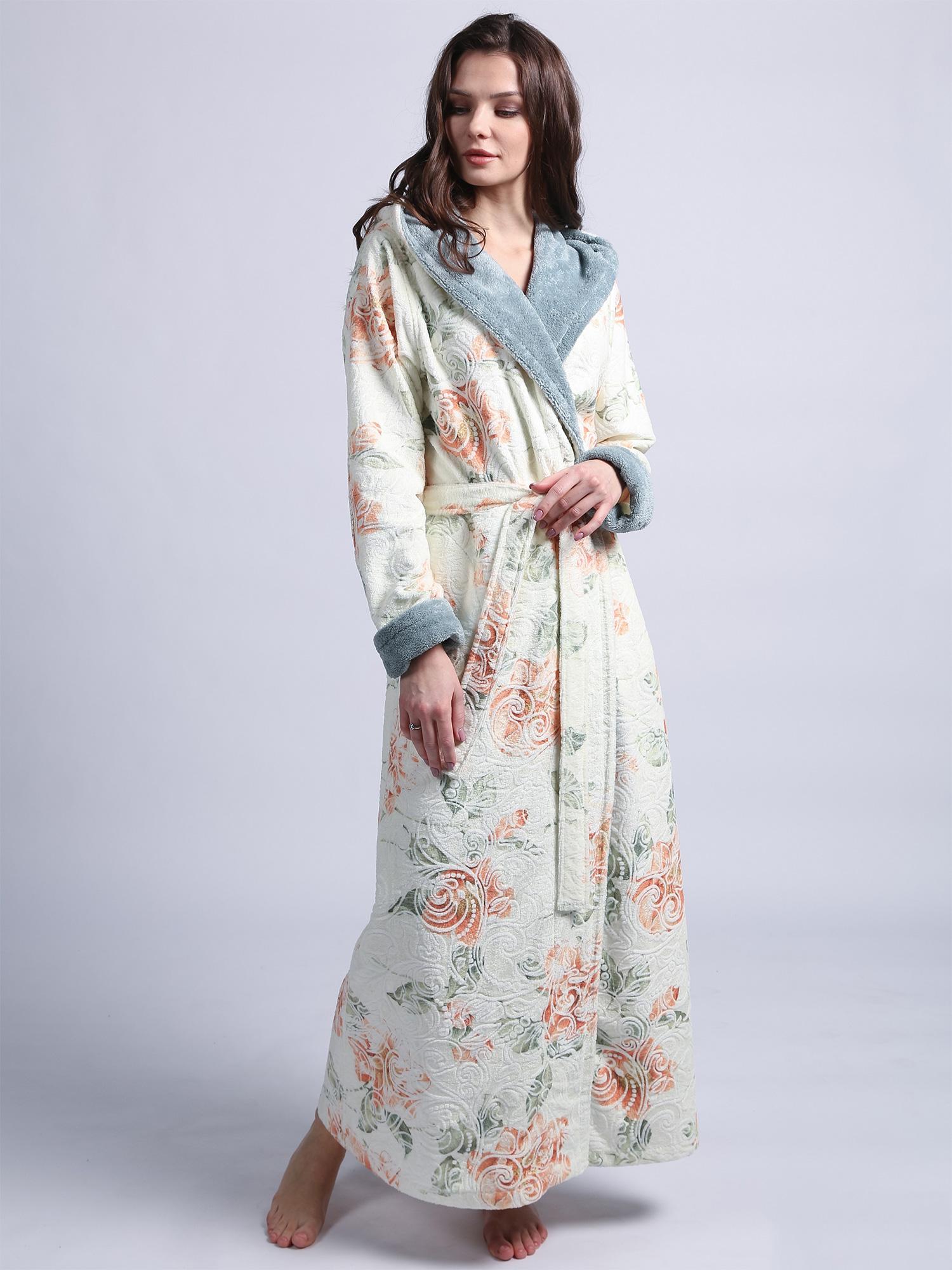 Женский длинный халат с капюшоном 1111 Rosaline серо-голубой Wien