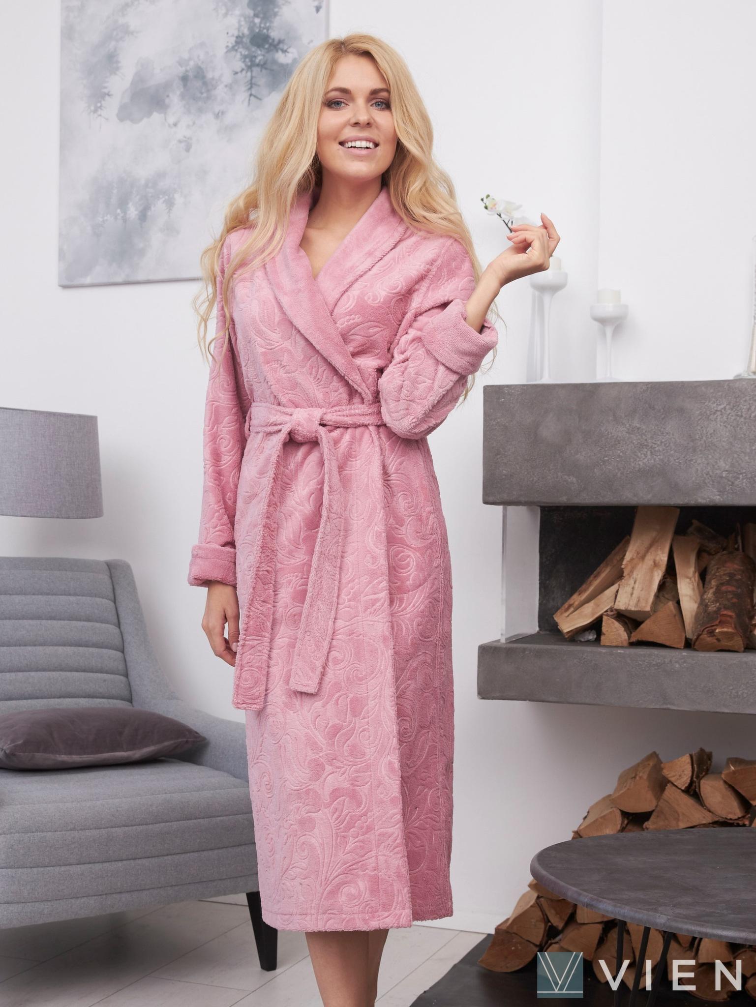 Бамбуковый халат с жаккардом Belinda розовый Wien