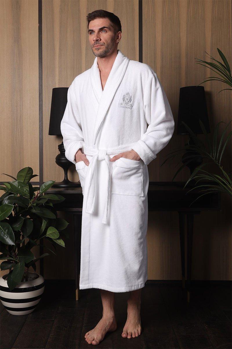 Мужской велюровый халат 541 Vitorre белый Five Wien