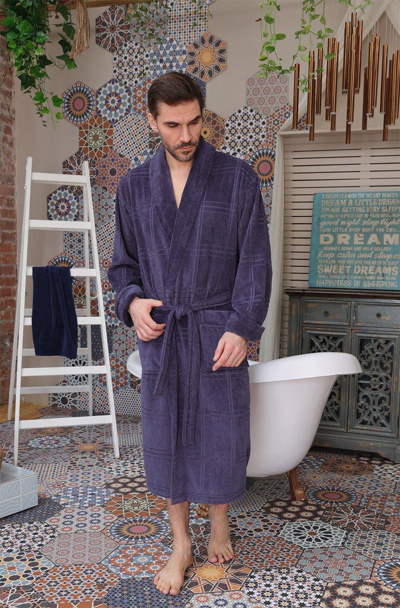 Мужской бамбуковый халат 575 Comfort синий Five wien