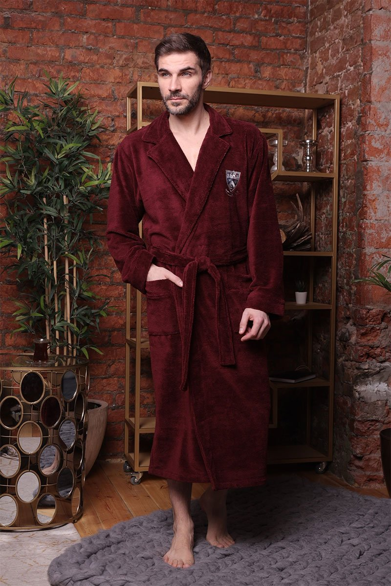 Мужской бамбуковый халат 578 Relax бордовый Five Wien