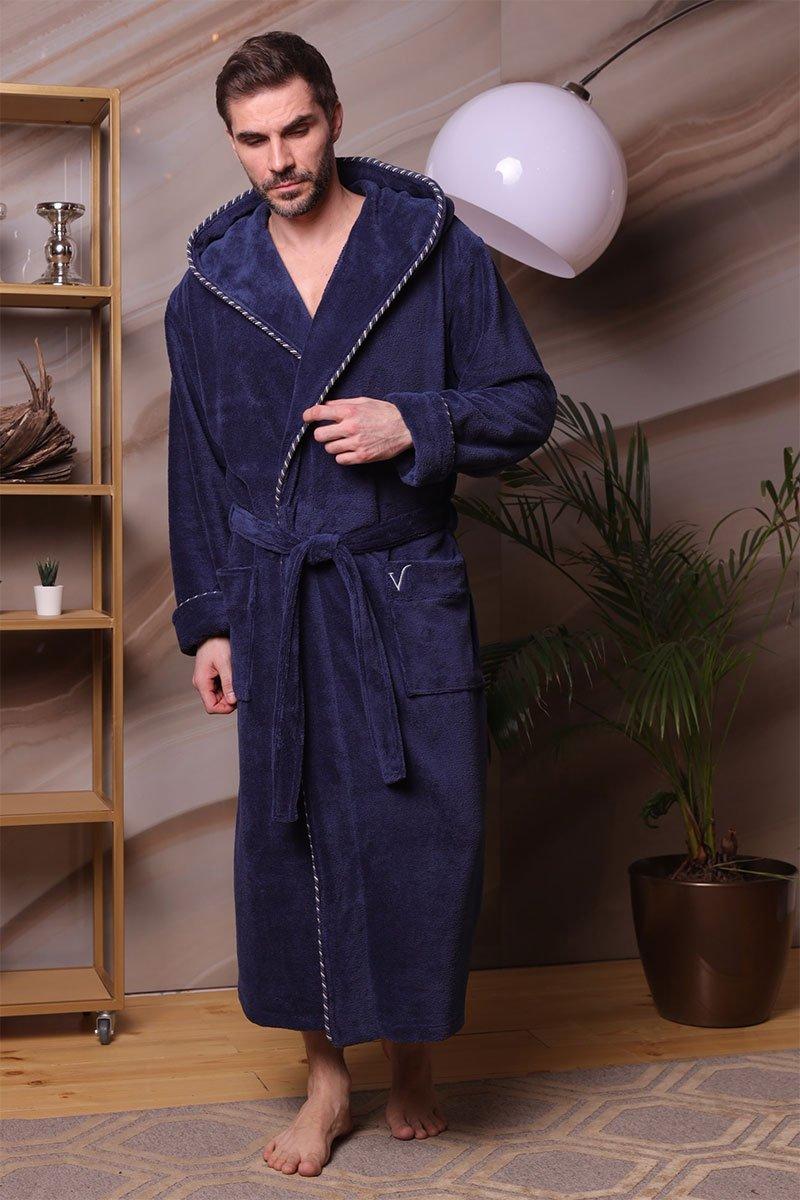 Мужской бамбуковый халат с капюшоном 587 Zevs синий Five wien