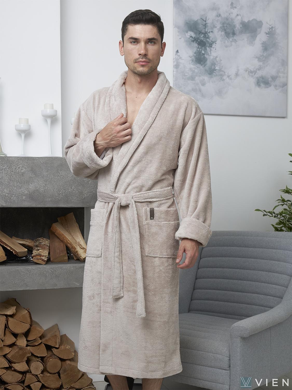 Мужской бамбуковый халат 600 Oliver серо-бежевый Wien