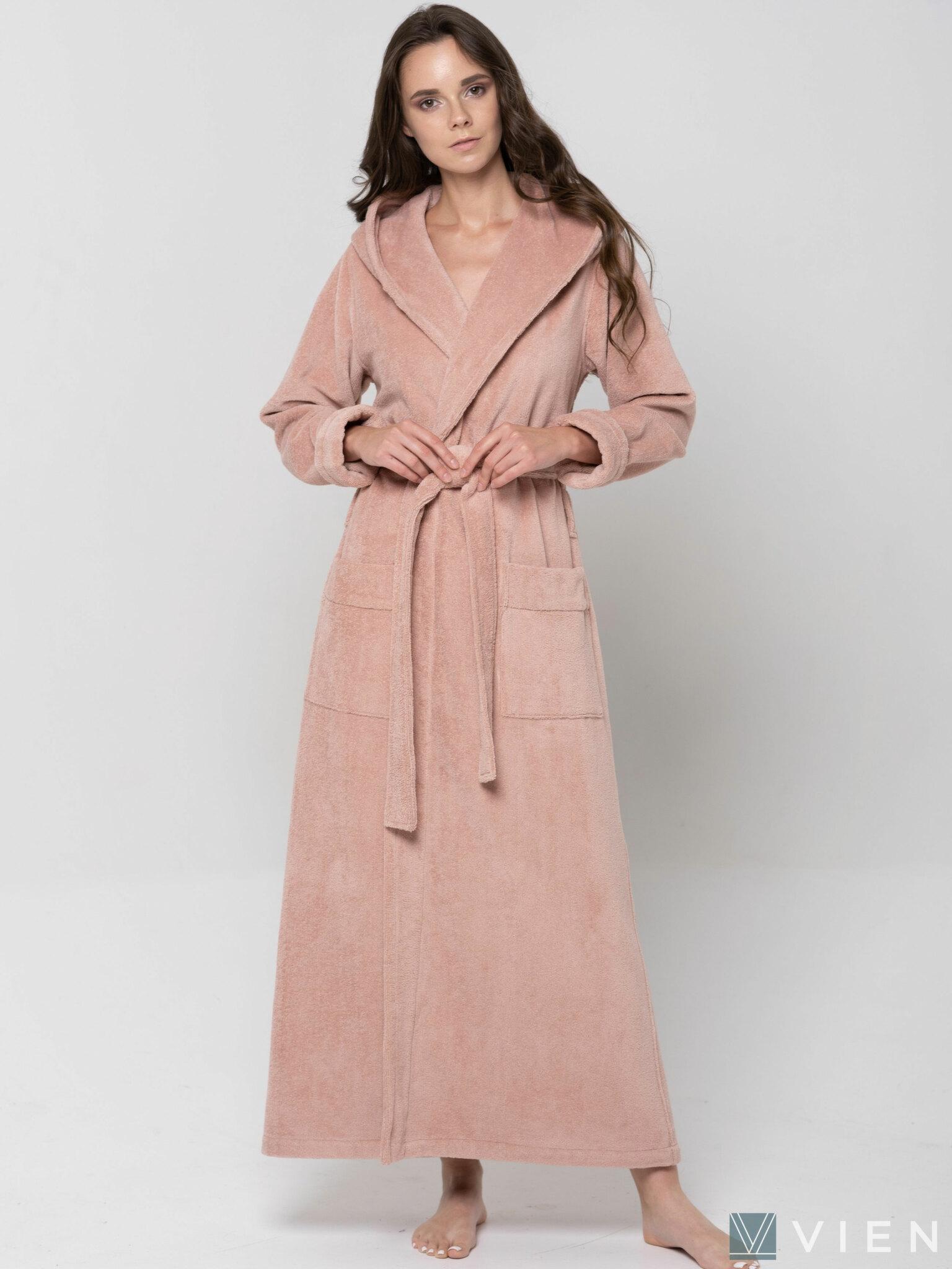 Женский длинный халат с капюшоном 696 Lady пудра Wien