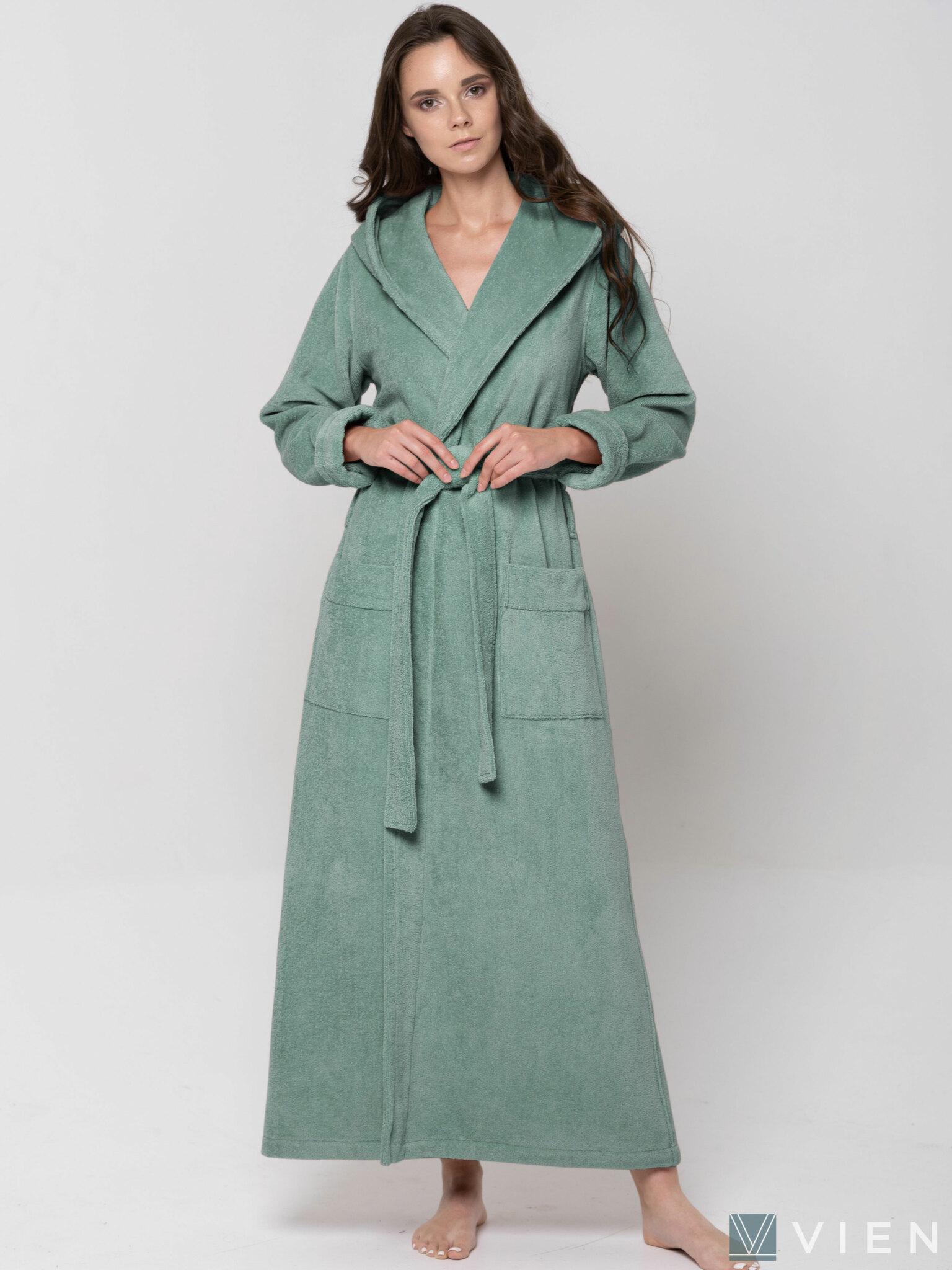 Женский длинный халат с капюшоном 696 Lady серо-зеленый Wien