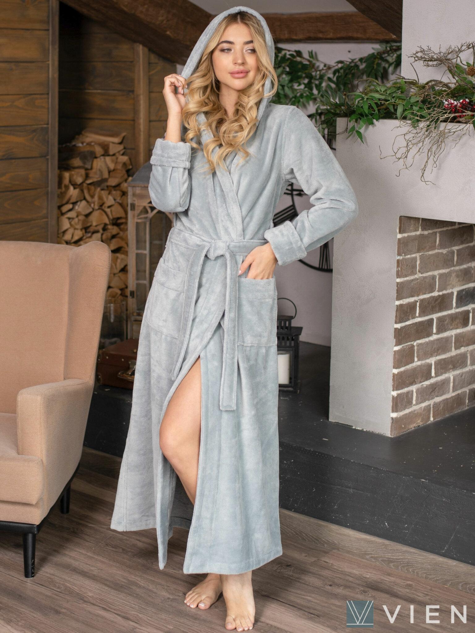 Женский длинный халат с капюшоном 696 Lady серый Wien