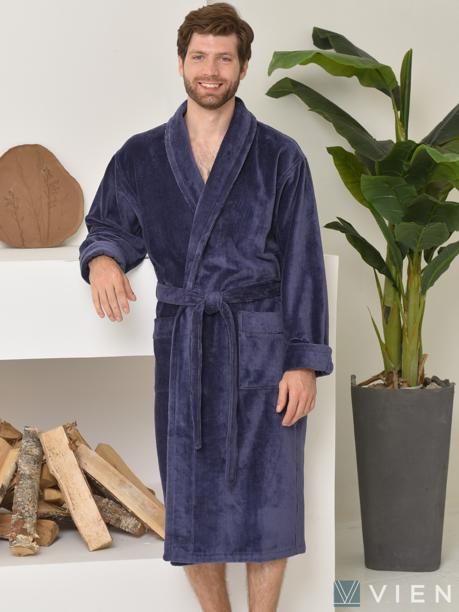 Мужской махровый халат 698 Prestige line синий Wien