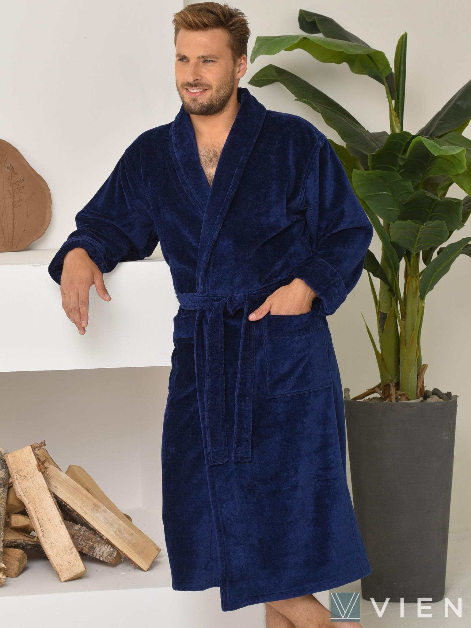 Мужской махровый халат 698 Prestige line темно-синий Wien