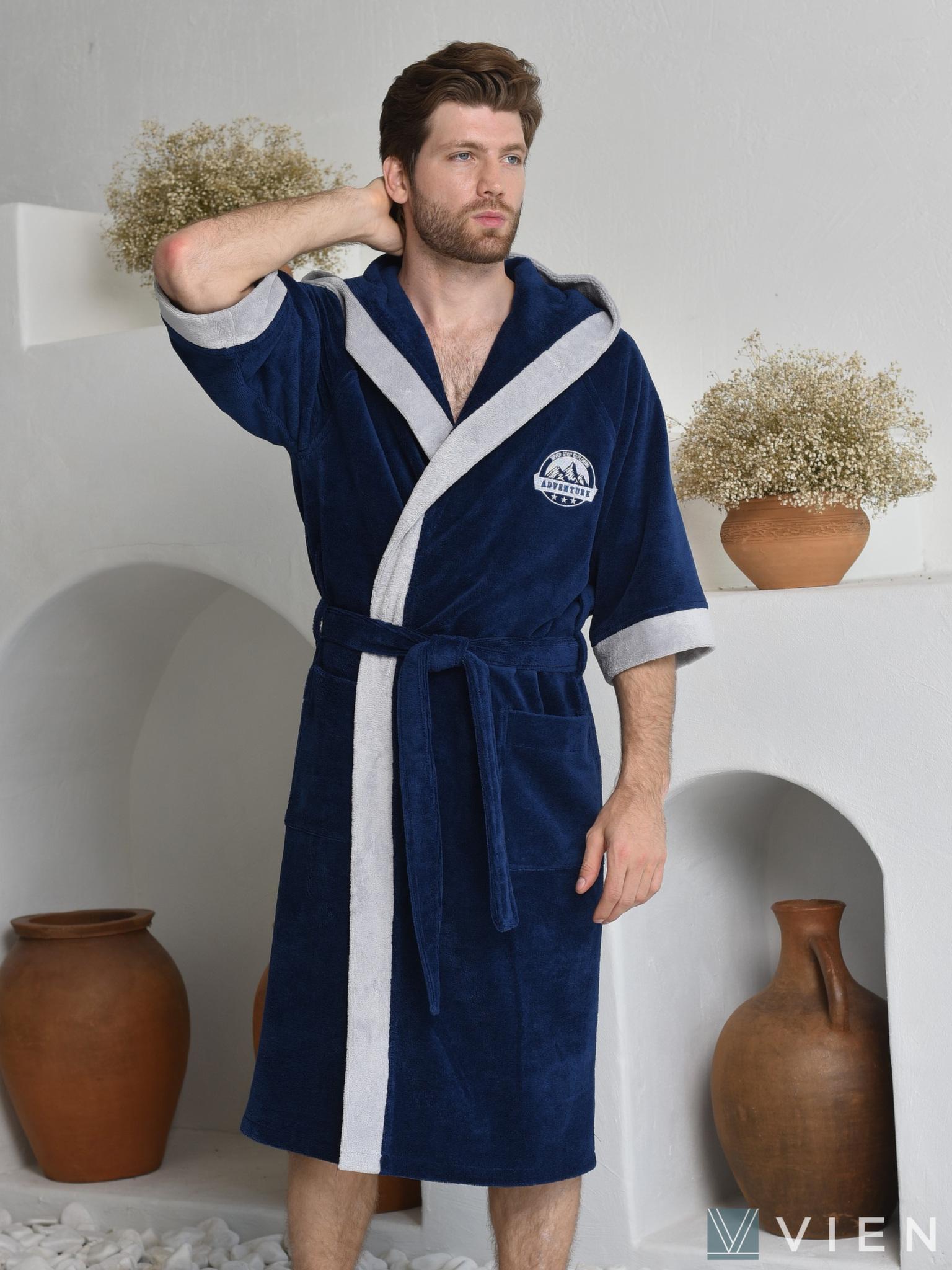 Мужской бамбуковый халат 701 Adventure sport синий Wien